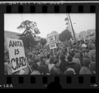 Gay Rights demonstrators outside Hollywood High School, Calif., 1977