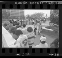 Applicants waiting in line for police officer jobs in Los Angeles, Calif., 1977