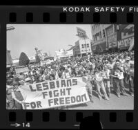 Gay Pride parade on Hollywood Blvd. in Los Angeles, Calif., 1977