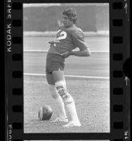 Football player Joe Namath at training camp in Fullerton, Calif., 1977