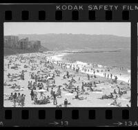 Beach goers on Redondo Beach, Calif., 1977
