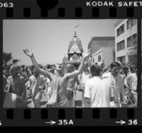 Hare Krishnas celebrating Festival of Chariots in Venice Beach, Calif., 1977