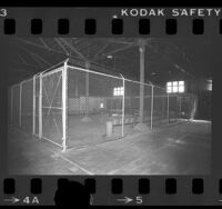 Fence enclosure in a warehouse used for detaining illegal aliens, Los Angeles, Calif., 1977