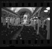 Cardinal Timothy Manning conducting High Mass at St. Vibiana's Cathedral, Calif., 1977