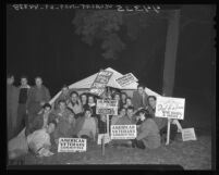 American Veterans' Committee protests lack of housing for veterans in MacArthur Park, Calif., 1947