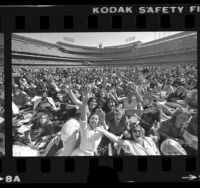 Crowd waiting for Bee Gees concert at Dodger Stadium, Calif., 1979