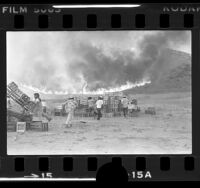 Farm workers moving wooden crates as brush fire descends hill in Halsey Canyon, Calif., 1979