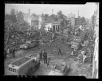 Emergency services on scene at O'Connor Electro-Plating explosion in Los Angeles, Calif., 1947