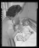 Post War Tranquility Leung is first Chinese baby born in Los Angeles, Calif. on Chinese New Year in 1947