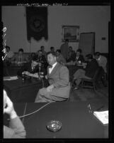 Pasadena Board of Education president, Milton Wopschall speaking before California Senate Education Committee, 1950