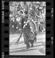 Two dancers in costumes at Day of the Dead celebration in Los Angeles, Calif., 1979