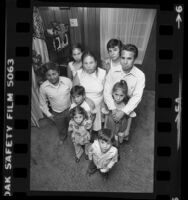 Group portrait of a Mexican family, who are illegal aliens, in Los Angeles, Calif., 1979