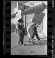 "Elderly demonstrators with signs reading ""Good Bye Hookers"" and ""Sex For Sale, Go To Jail"" in Inglewood, Calif., 1979"