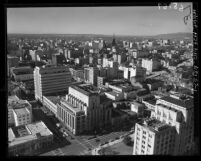 Cityscape seen from top of city hall tower looking south in Los Angeles, Calif., 1950