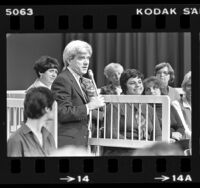 Daytime talk show host Phil Donahue with audience members in Chicago, Ill., 1980
