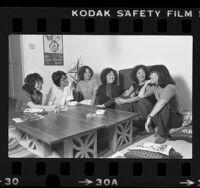 Six members of Pacific Asian American Women Writers West (PAAWWW) in Los Angeles, Calif., 1980