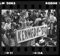 "Group of delegates holding up ""Kennedy-'80"" banner at the 1980 Democratic National Convention in New York"