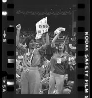 Two California delegates cheering for Equal Rights Amendment at the 1980 Democratic National Convention in New York