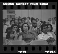 Parents at meeting concerning school integration plans at Los Feliz Elementary School in Los Angeles, Calif., 1980