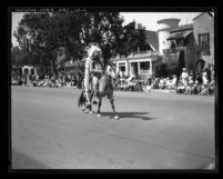 Indian riding horse in Pioneer Days Parade in Santa Monica, Calif., 1931