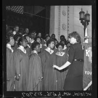 Choir from Jefferson High School sings during Negro History Week, Los Angeles, Calif., 1962