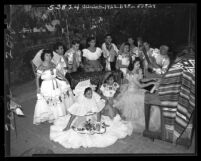 "Jose Arias, ""Troubador of Southern California"" during rehearsal with his family troupe, 1948"
