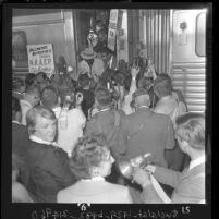 African American Peola Denham arriving in Los Angeles from Louisiana, 1962