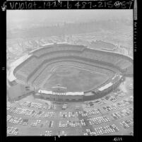 Aerial view of baseball game at Dodgers Stadium in Los Angeles, 1962