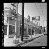 Business district at 2700 block of Central Ave. and 28th street in Los Angeles, Calif., 1962