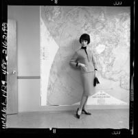 Woman modeling travel clothing, wool knit outfit by Avagolf, Los Angeles, Calif., 1962
