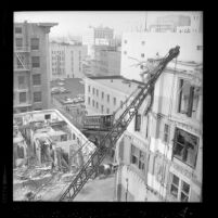 Angels Flight is seen from south as buildings are razed in Los Angeles, Calif., 1962