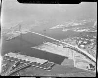 Aerial view of Vincent Thomas suspension bridge in San Pedro, Calif., 1963