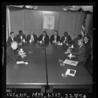 Reporter Paul Weeks interviewing members of Los Angeles County Commission on Human Relations, 1963