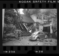 House at 5843 Tuxedo Terrace damaged by landslide, Los Angeles, Calif., 1978
