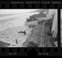Storm-surf damaged house at 47 Malibu Colony Road, Calif., 1978