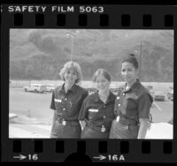 First three women paramedic trainees of the Los Angeles City Fire Department, Calif., 1978