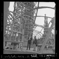 "Rodney Punt and N. J. ""Bud"" Goldstone inspecting Watts Towers, Calif., 1978"