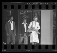 Betty Ford leaving Long Beach Naval Hospital, Calif., 1978