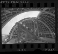 Paul Roques operating solar telescope at Griffith Observatory, Los Angeles, 1978