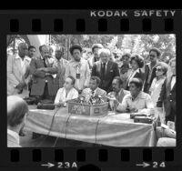 Los Angeles Black Leadership Coalition press conference after Supreme Court's Bakke decision, 1978