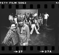 "Luis Valdez and Gordon Davidson with cast of ""Zoot Suit"" in Los Angeles, Calif., 1978"