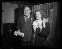 Actors Charles Laughton and wife, Elsa Lanchester after taking the United States oath of citizenship, 1950
