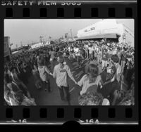 Jews dancing on Fairfax Ave. to show solidarity with Soviet Jews, Los Angeles, Calif., 1978