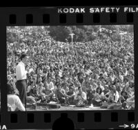 Governor Jerry Brown speaking before crowd at re-election rally on UCLA campus, 1978