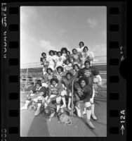Eight-teen Samoan football players at Carson High School, Calif., 1978
