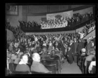 Angelus Temple congregation during radio missionary service in Los Angeles, Calif., circa 1923