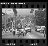 Great American Yankee Freedom Band marching down Sunset Blvd. to open Sunset Junction Street Fair in Los Angeles, Calif., 1980