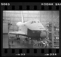 Space Shuttle Enterprise in its hangar in Palmdale, Calif., 1980