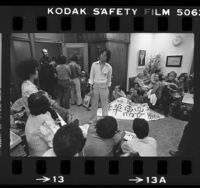 Group of Chinatown residents waiting in Los Angeles City Councilman Gilbert Lindsay's office, 1981