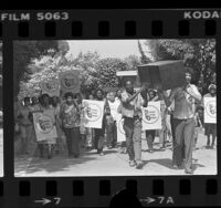 Citizens Action League members carrying signs and mock coffin up street in Pacific Palisades, Calif., 1981